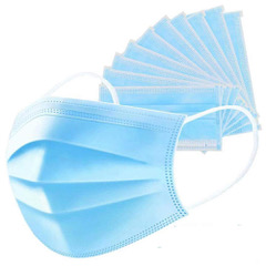 Blue disposable protective masks available for supply in boxes of 50 pieces