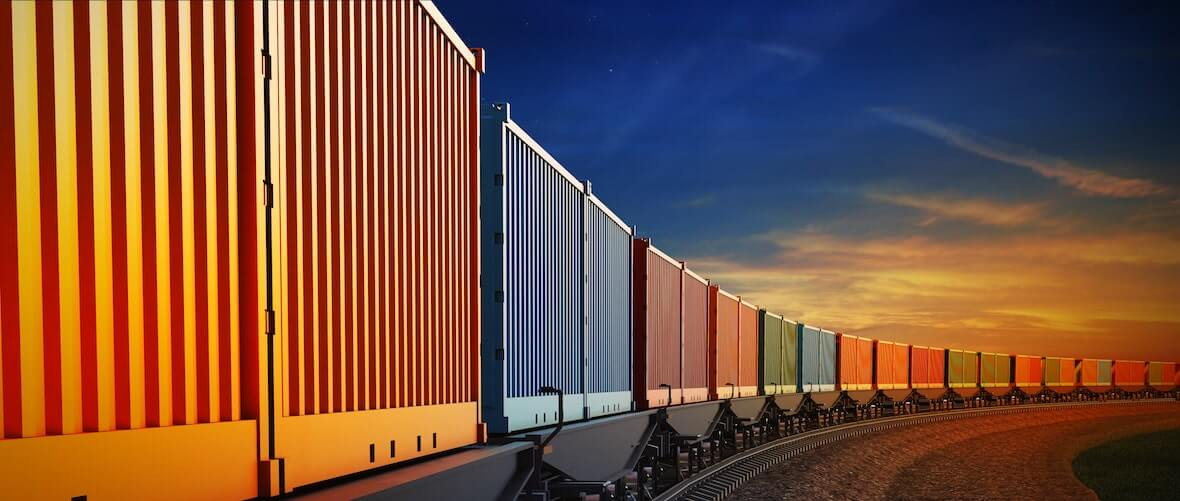 Colourful containers on a freight train
