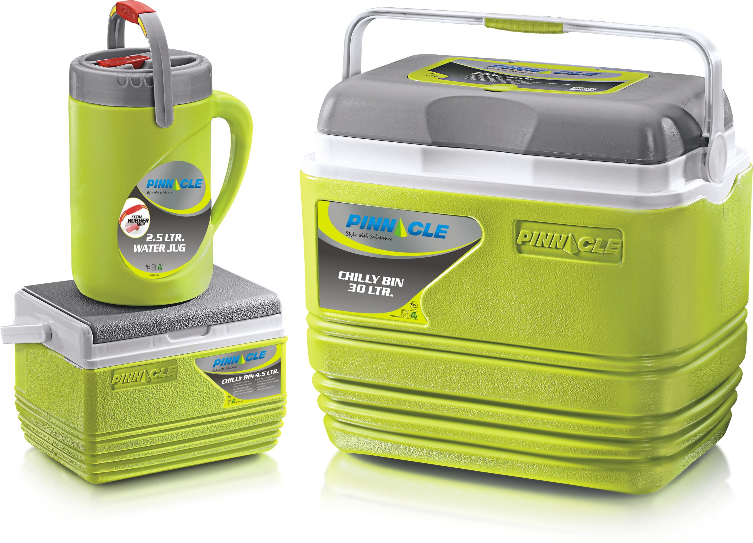 Set of 3 green chilly bins / coolers from the Haunui range