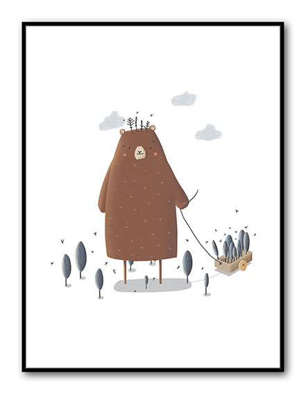 Art for kids' rooms: An illustration of a large friendly bear