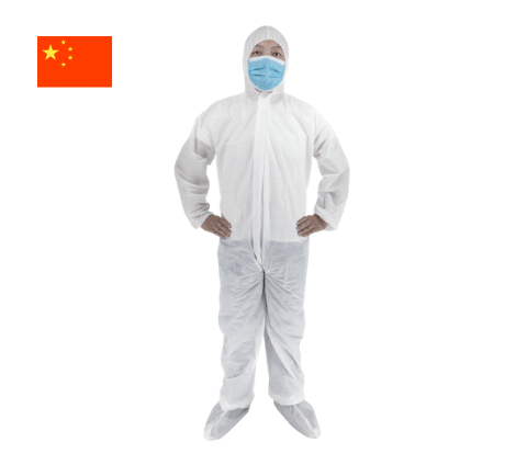 Man in white bio suit and face mask from the Haunui range