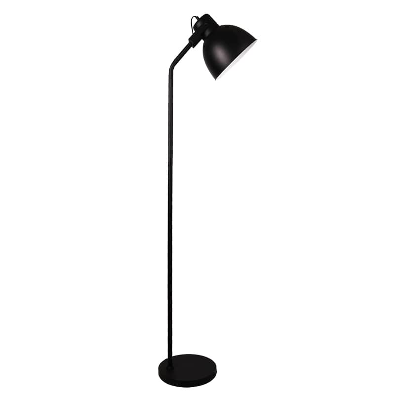 Black KL-F619 floor lamp with metal shade and base from the Haunui International range