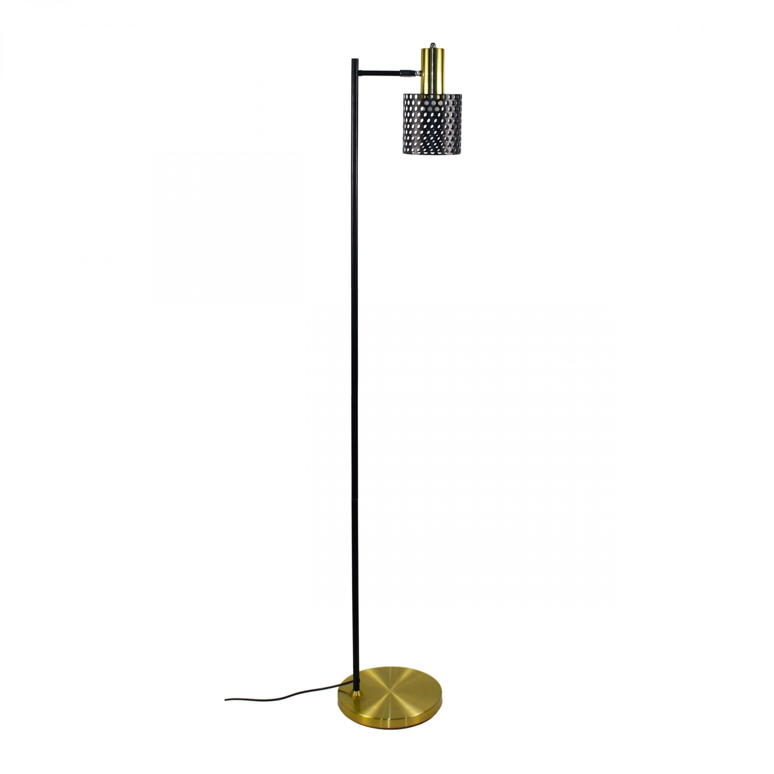 KL-F801 Floor lamp brass-coloured metal with black shade and pole from the Haunui International range