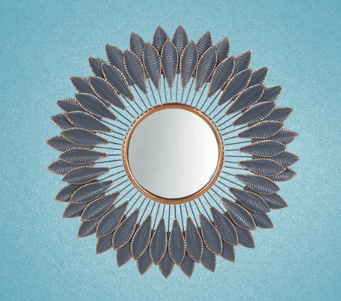 Flora mirror - round mirror with metal leave design frame