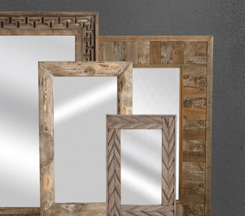 4 rectangular wooden mirrors from the Haunui International collection