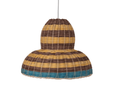 Colored rattan cieling lamp - pendent style