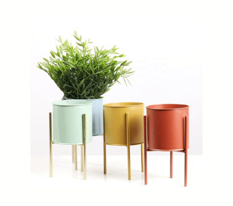 Coloured metal planters in mustard, terracotta and spearmint