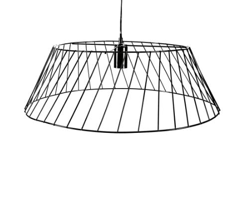 Black wire-framed pendent lamp