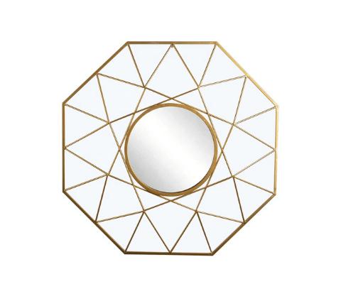 Wire-framed octagonal mirror